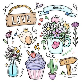 Flor romântica fofa na taça para doodle de casamento