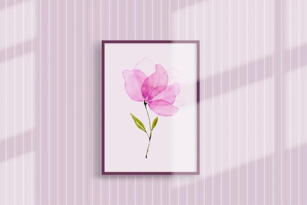 Flor rosa aquarela pintada à mão. apresentado em um porta-retrato pendurado na parede com a sombra passando perfeita para projetar decorações de parede