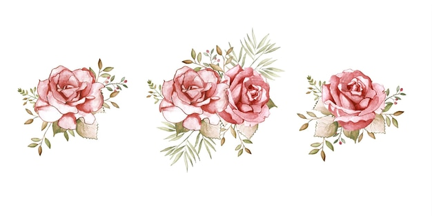Flor rosa aquarela pintada à mão com decoração de buquê