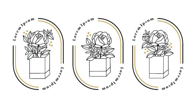Flor rosa botânica desenhada à mão para elementos de logotipo feminino