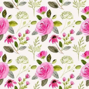 Flor rosa brilhante aquarela padrão sem emenda