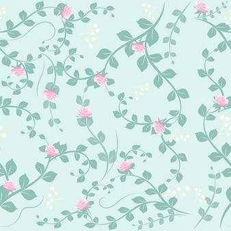 Flor rosa e folha padrão sem emenda