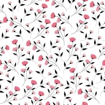 Flor rosa e folhas pretas sem costura padrão