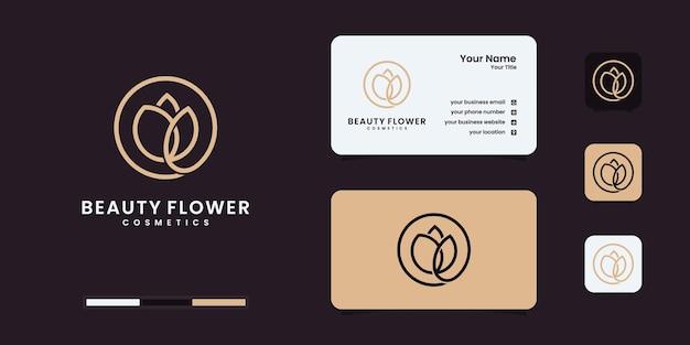 Flor rosa elegante minimalista, beleza, cosméticos, ioga e inspiração de spa. logotipo, ícone e cartão de visita Vetor Premium