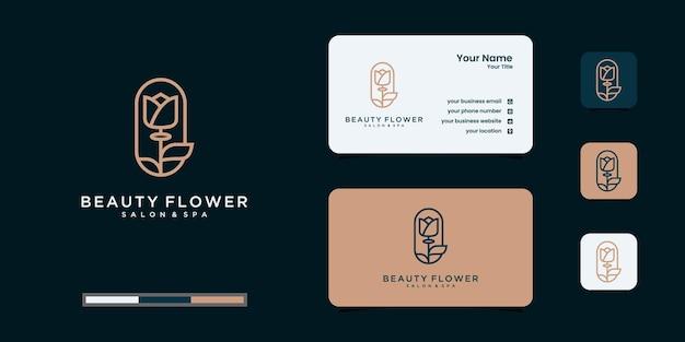 Flor rosa elegante minimalista, beleza, cosméticos, ioga e inspiração de spa. logotipo, ícone e cartão de visita