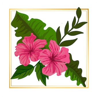Flor rosa floral bonito com folha vintage natureza