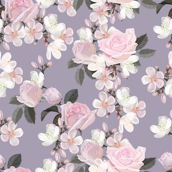 Flor rosa ilustração em vetor padrão sem emenda