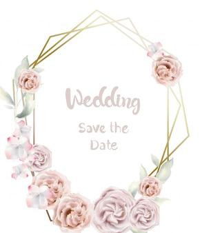 Flor rosa redonda aquarela cartão. convite de casamento estilo retro vintage ou saudações