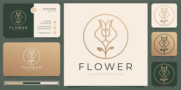 Flor rosas linha arte style.luxury círculo, salão de beleza, moda, skincare, cosméticos, natureza e spa products.logo e modelo de cartão de visita.