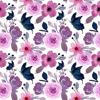 Flor roxa e borboleta com aquarela sem costura padrão