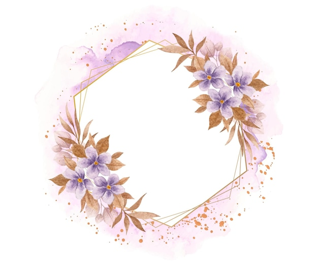 Flor roxa elegante e folhas com moldura poligonal com toque