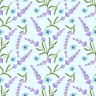 Flor roxa lavanda sem costura padrão em azul