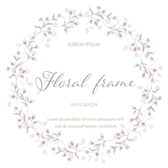 Flor roxa para grinalda de quadro floral. modelo de cartão de convite de casamento