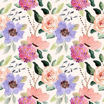 Flor roxa pêssego aquarela sem costura padrão