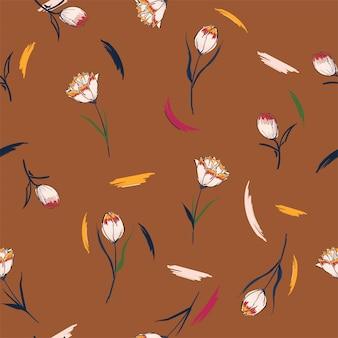 Flor selvagem tulipa flor sem costura padrão