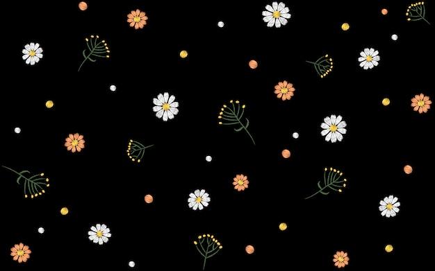 Flor sem costura padrão. campo de ervas margarida têxtil impressão decoração