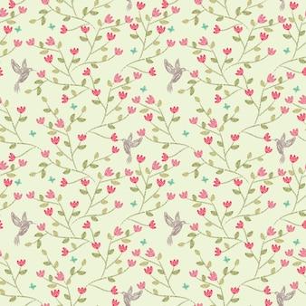 Flor sem costura padrão rosa e passarinho