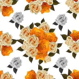 Flor sem costura padrão sagacidade amarelo rosa ilustração vetorial