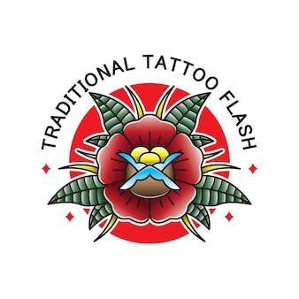 Flor tradicional tatuagem flash