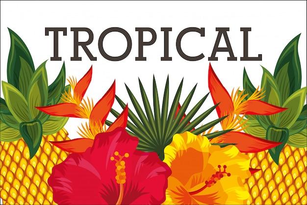 Flor tropical deixa cartão animal