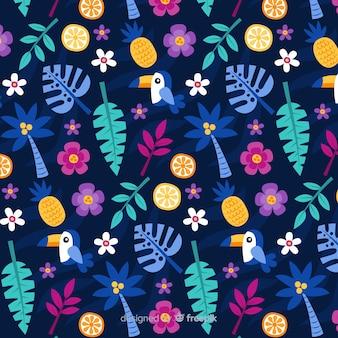 Flor tropical plana e folhas padrão