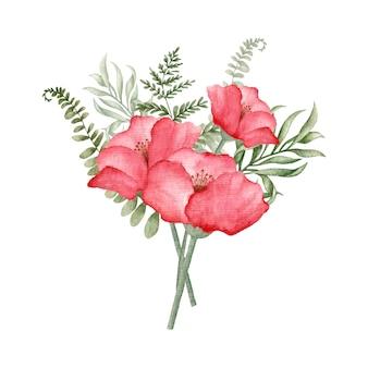 Flor vermelha aquarela e buquê floral de folhas silvestres