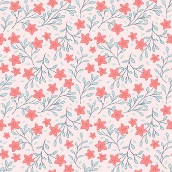 Flor vermelha e folhas verdes sem costura padrão floral