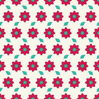 Flor vermelha e padrões de folhas verdes