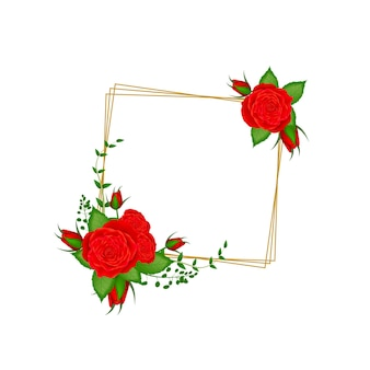 Flor vintage com moldura floral regtangle