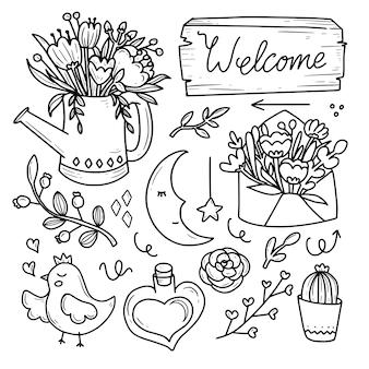 Flor vintage em vaso e coleção de doodle de amor