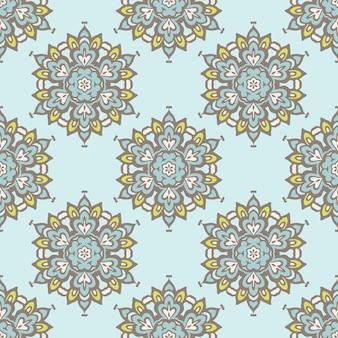 Flor vintage fofa vetor abstrato sem costura padrão em azulejo