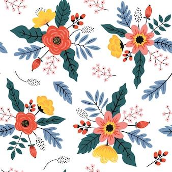 Flor vintage padrão sem emenda