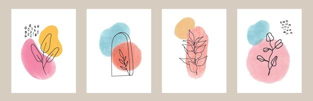 Florais abstratos de vetor em formas geométricas simples linha artística minimalista. elementos botânicos de mão desenhada, conjunto de folhagem de esboço. botânica colorida natural em formas de aquarela.