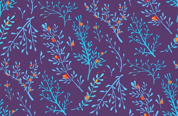 Florais de grama selvagem romântica e ervas sem costura de fundo.