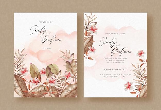 Florais de outono com pintura respingada no background do convite de casamento