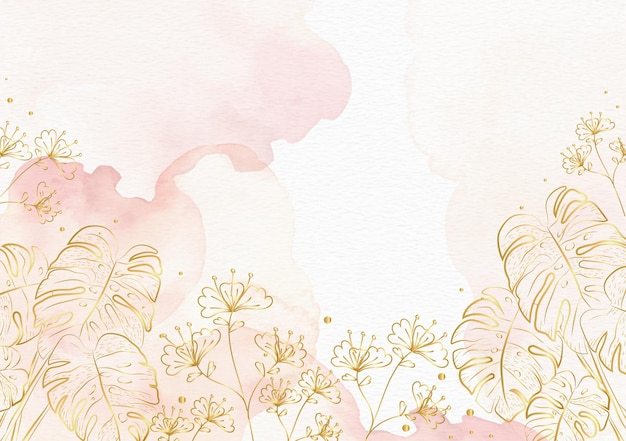 Florais dourados em fundo aquarela respingo rosa
