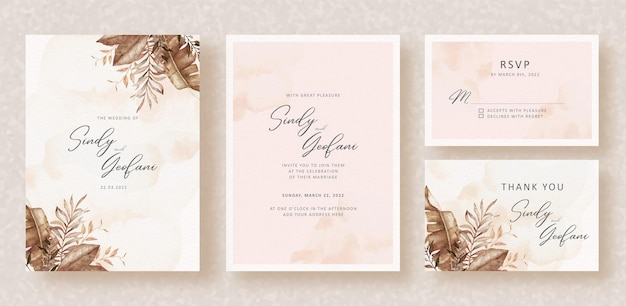 Florais exóticos de outono com quadros em aquarela sobre fundo de convite de casamento