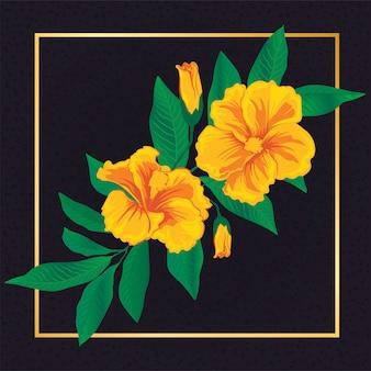 Floral amarelo flor folha vintage natureza