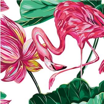 Floral animal deixa vetor de fundo padrão sem emenda