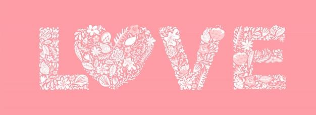 Floral bonito palavra amor. letras maiúsculas do casamento da flor