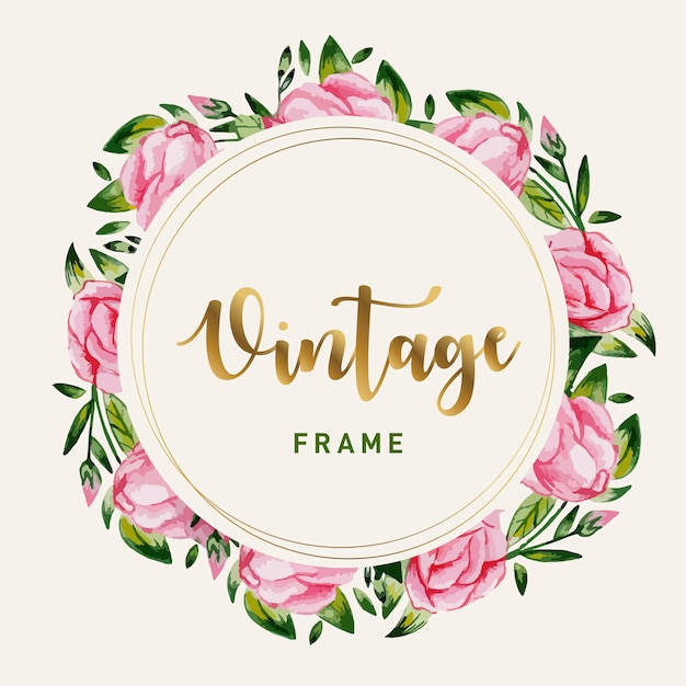 Floral boquet frame watercolor style free