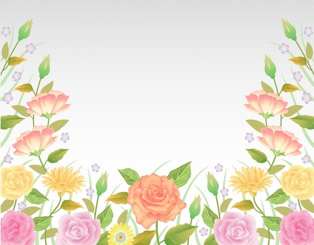 Floral colorida e bonita rosa flores e folhas decoração modelo.