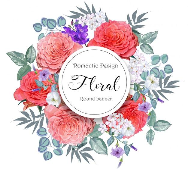 Floral com banner redondo