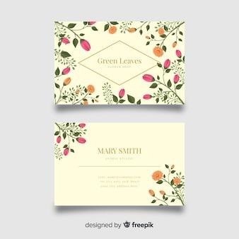 Floral com cartão de visita de linhas douradas