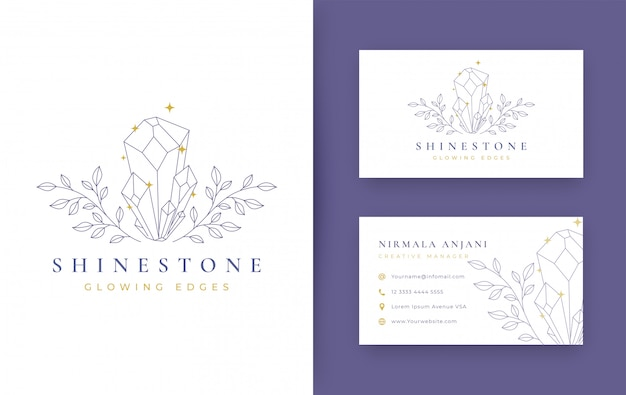 Floral com design minimalista de jóias com cartão de visita