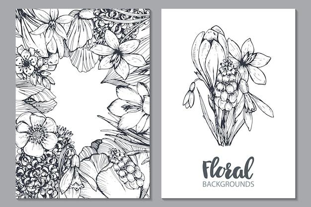 Floral com flores da primavera desenhadas à mão e plantas no estilo de desenho.