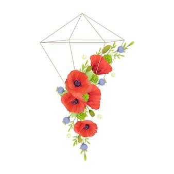 Floral com flores de papoula vermelhas florais em terrário