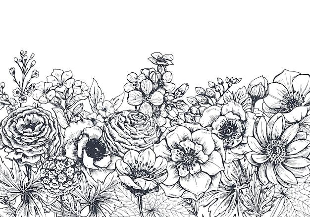 Floral com flores e plantas da primavera mão desenhada. monocromático