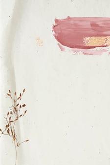 Floral decorado com pincelada rosa em fundo bege