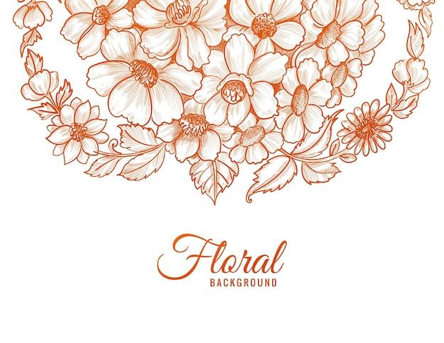 Floral decorativo moderno com estilo esboçado